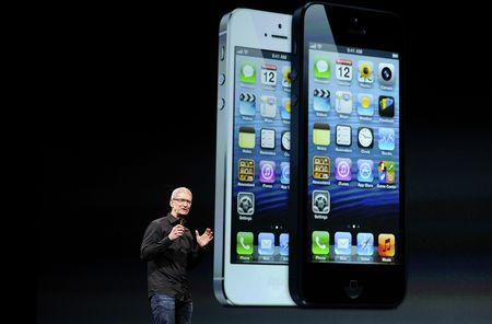 Apple CEO Tim Cook presents the iPhone 5 in San Francisco, California, on Wednesday, Sept. 12, 2012.