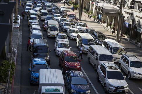 Traffic jam during rush hour in Manila.