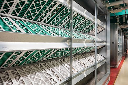 The 12 air-handling units in NY4 move cold air via overhead ducts.