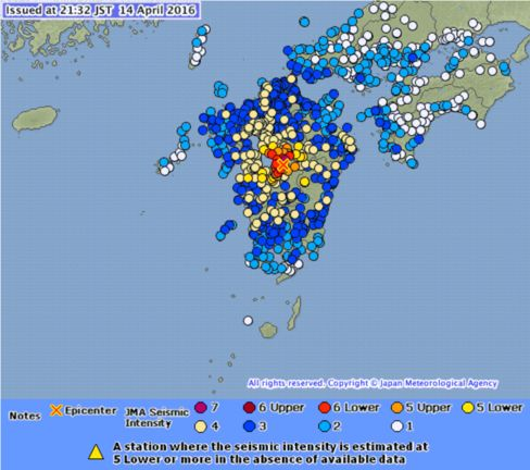 Shindo map of April 14 earthquake in Kumamoto