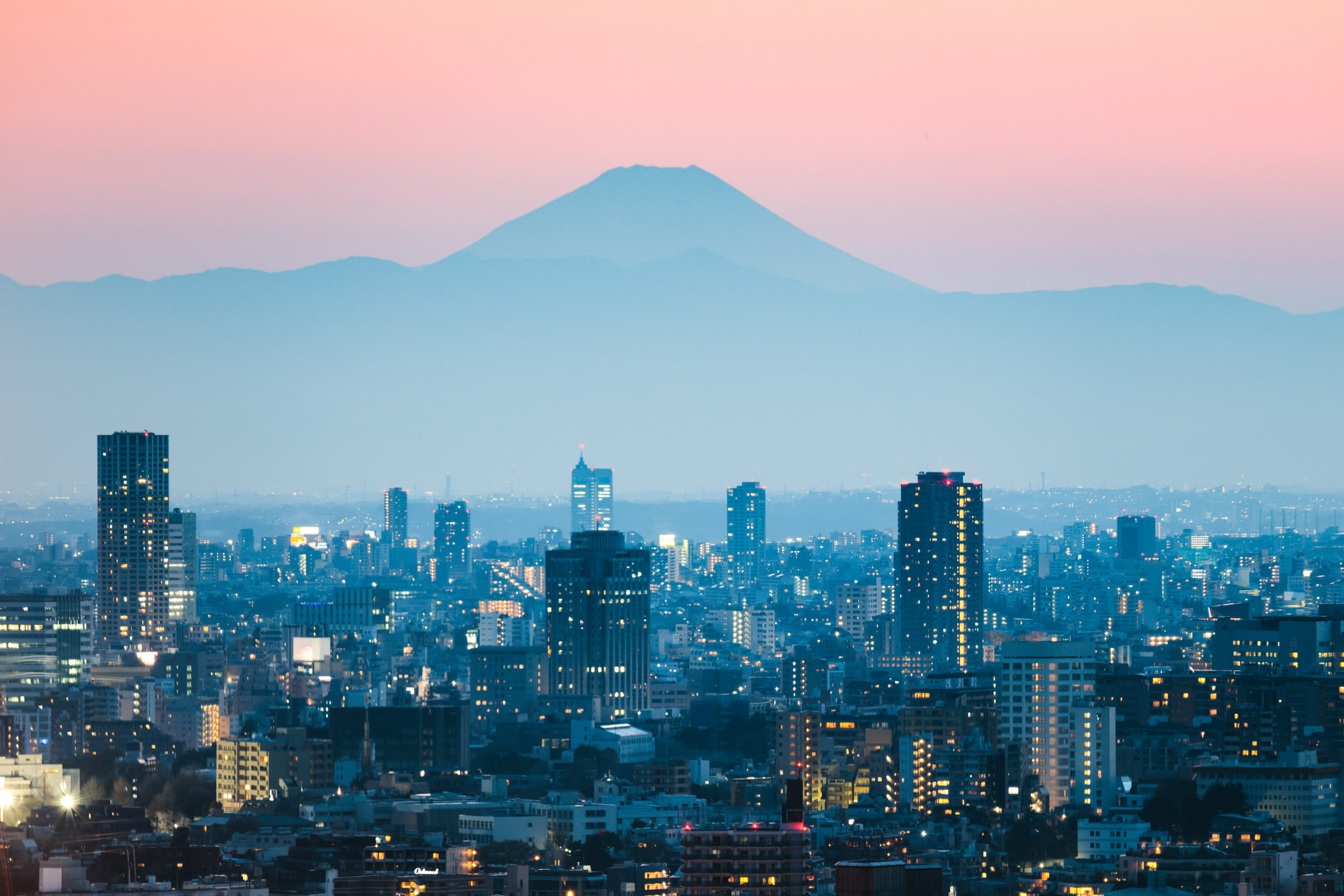 Mount Fuji and Tokyo downtown at sunset. Japan