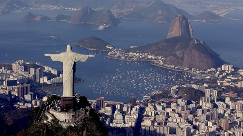 Aerial view of Christ the Redeemer on August 5, 2015 in Rio de Janeiro, Brazil.