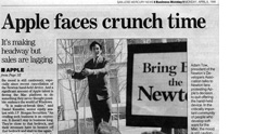 Headline from April 6, 1998, when Apple dropped the Newton