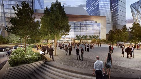 A rendering of the plaza.
