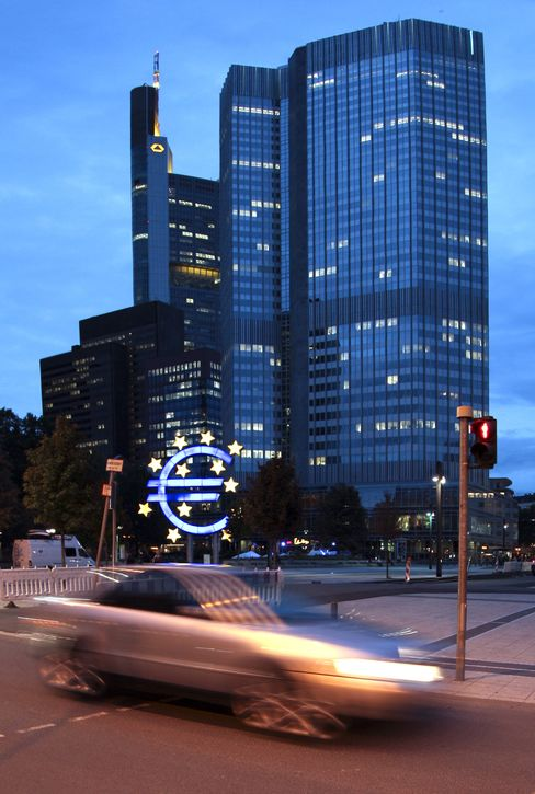 Traffic Passes The European Central Bank Headquarters