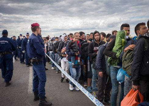 Migrants in Hungary head to a reception camp