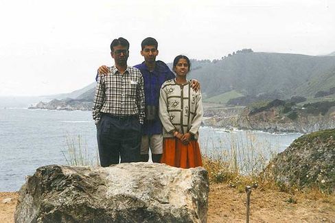 Pichai with his parents in California in 1997, when they came to visit him in the U.S. for the first time