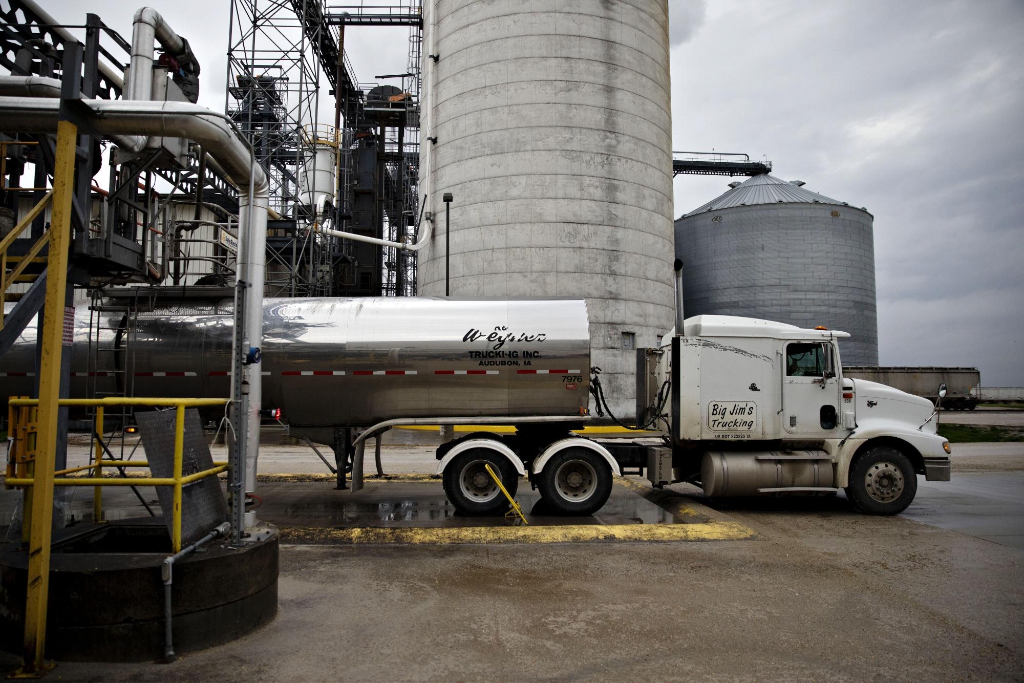 A tanker truck sits outside an ethanol biorefinery in Gowrie, Iowa.