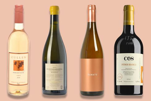 "From left:2014 Cullen ""Amber"" Semillon Sauvignon Blanc,2012 Foradori Fontanasanta Nosiola, 2013 Channing Daughters Ramato, 2014 Cos Pithos Bianco."