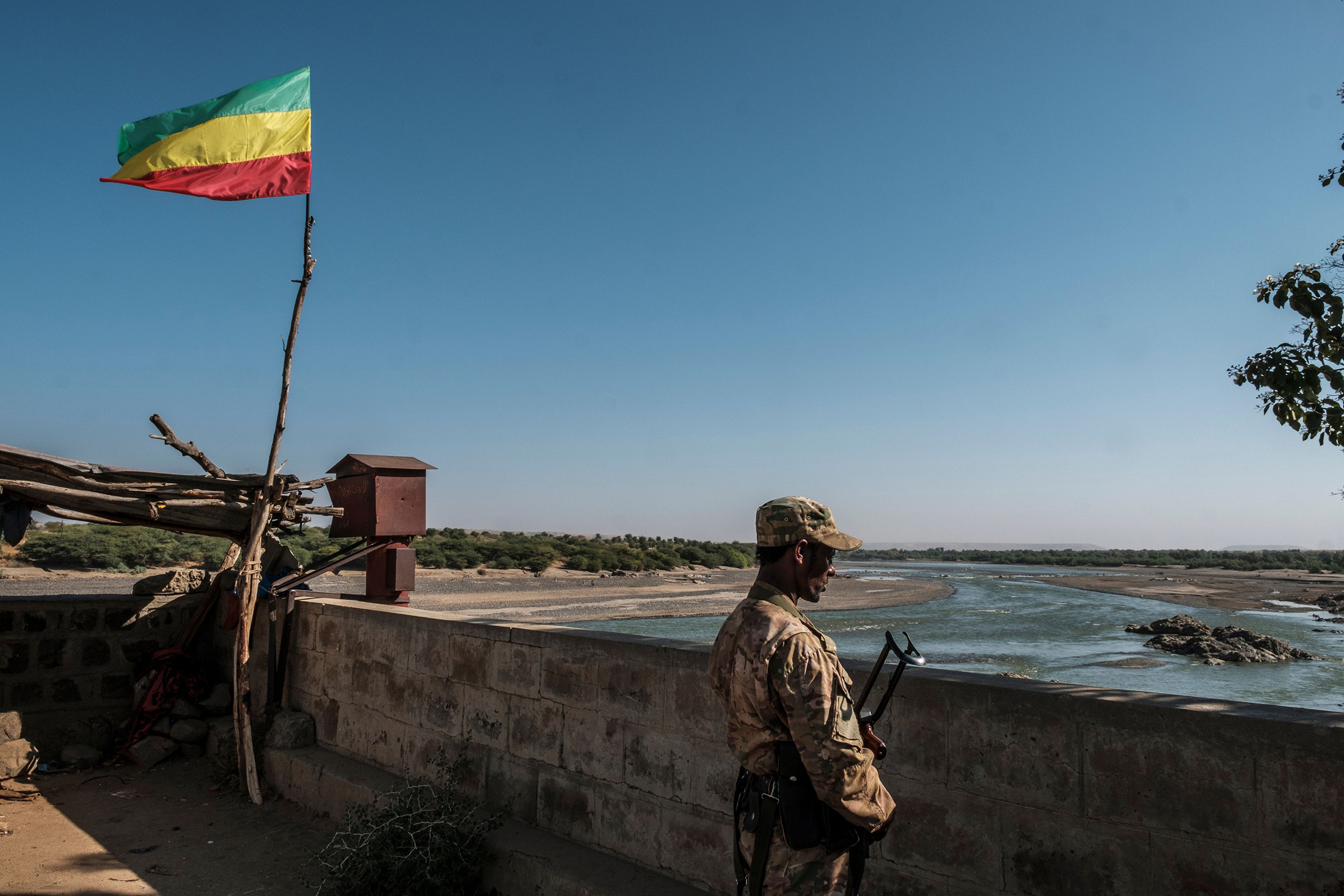 A member of the Amhara Special Forces looks on at the border crossing with Eritrea in Humera, Ethiopia.