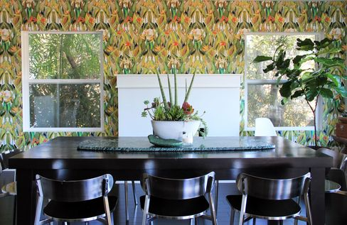 The birds-of-paradise print, installed in a dining room.
