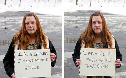 Jody Sullivan, 44, Rosendale, N.Y., earns $8 an hour as a cashier at a discount store. Click to view: Ten Workers on Living on the Minimum Wage