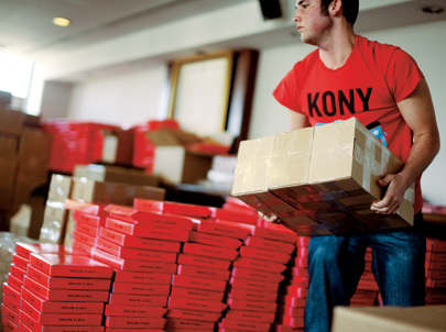 $30 Action Kits, with a shirt, bracelets, and stickers, quickly sold out after 'Kony 2012' went viral