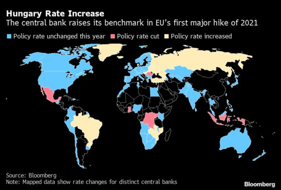 Hungary Begins Rate-Hike Cycle in Policy Break, Boosting Forint