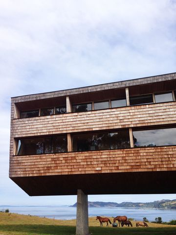The hotel's elevation above the ground allows for long views to the land- and seascapes beyond.