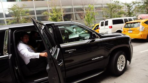 An Uber vehicle is viewed in New York City.