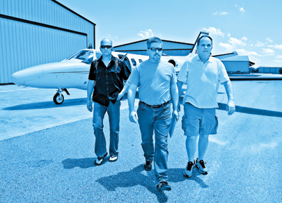Cage and his team at Orlando Apopka Airport, getting ready to repossess a Citation business jet
