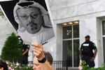 A demonstrator holds a poster during a rally about the disappearance of Washington Post journalist, Jamal Khashoggi outside the Embassy of Saudi Arabia on  in Washington, D.C. on Oct. 10.