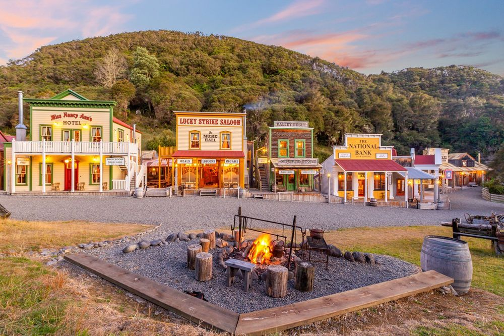 The town at Mellonsfolly Ranch recreates an 1860s frontier town in Wyoming.