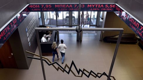 The Athens Stock Exchange in on June 15, 2015.