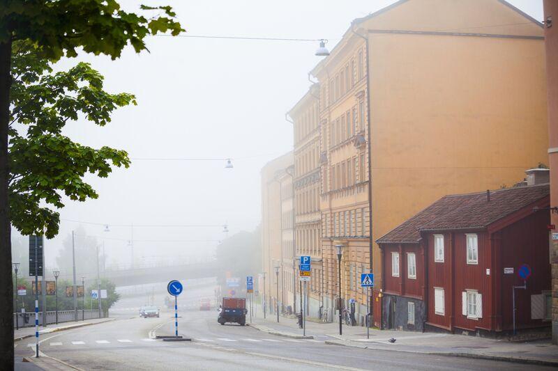 City street in fog