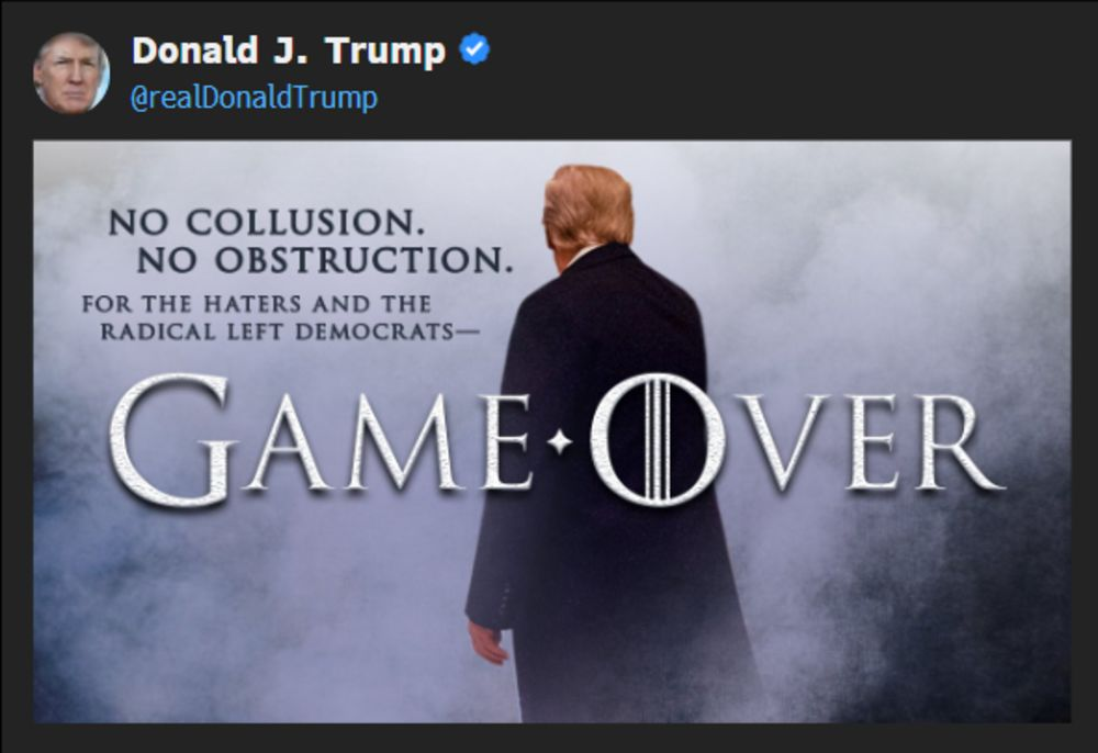 Trump Tweets 'Game Over' After Barr Briefing on Mueller Report
