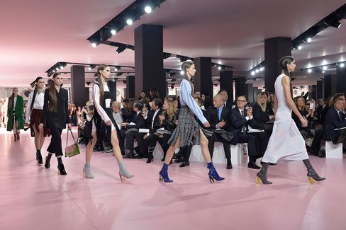 Car-wash skirts on show  at the Christian Dior Fall Winter 2015 Paris Fashion Week event.