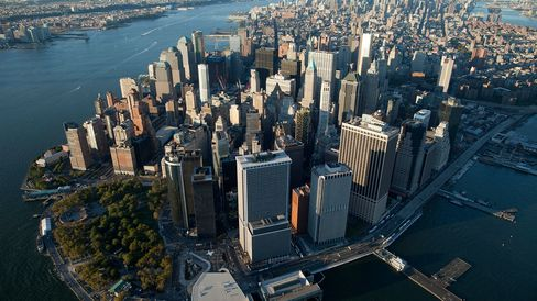 The Financial District in New York City.