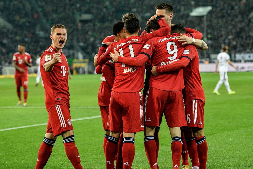 Bayern Munich celebrates a goal during a Bundesliga football match on March 2, 2019.