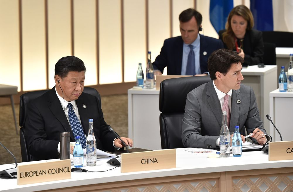 Xi Jinping and Justin Trudeau at the 2019 Group of 20 summit in Osaka, Japan.