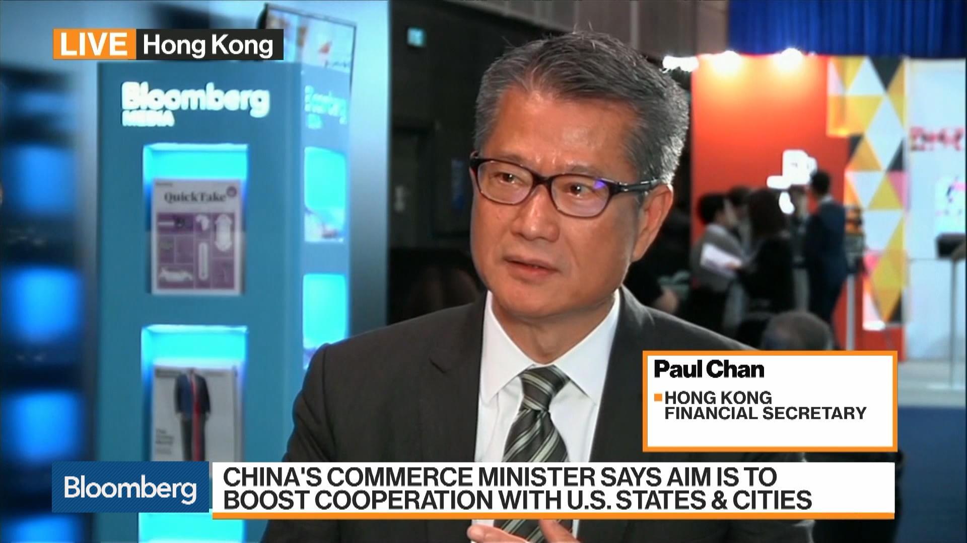 Hong Kong Financial Secretary On Economy U S China Trade Property Market Bloomberg