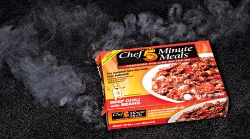 No stove required: Add water, and a chemical reaction steam-heats a $4 batch of chili from Chef Minute Meals, based in Johnson City, Tenn.