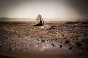 "Rendering of the SpaceX ""Red Dragon"" capsule on Mars."