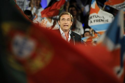 Pedro Passos Coelho delivers a speech during a political rally ahead of the election in Braga.