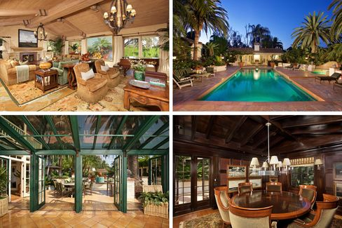 Interiors of the Rancho Santa Fe house.
