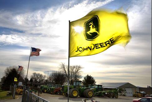 A John Deere emblem dominates a flag