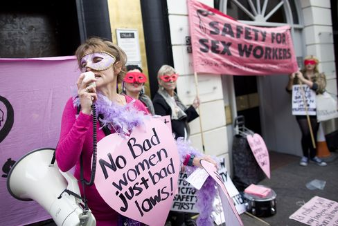 Demonstrators Protest Against Sex Worker Eviction In 2013