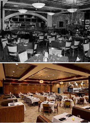 Sullivan's Steakhouse interior before (top) and after (bottom). Click to enlarge