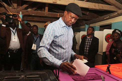 Edgar Lungu votes on Aug. 11.