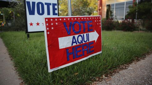 A bilingual sign stands outside a polling center ahead of local elections on April 28, 2013, in Austin, Texas.