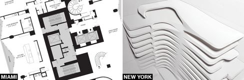 The floor plan of One Thousand Miami and an early rendering of 520 West 28th Street.