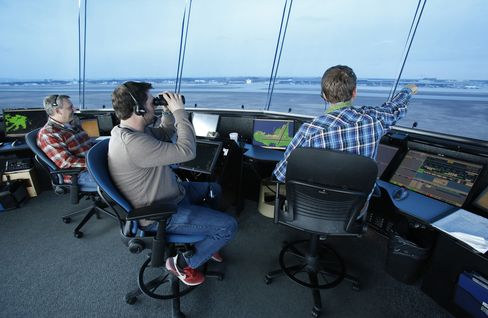 Air traffic controllers at the Nav Canada tower in Ottawa.