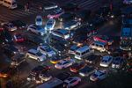This picture taken on April 16, 2018 shows a traffic jam at a crossroad in the city centre of Beijing.