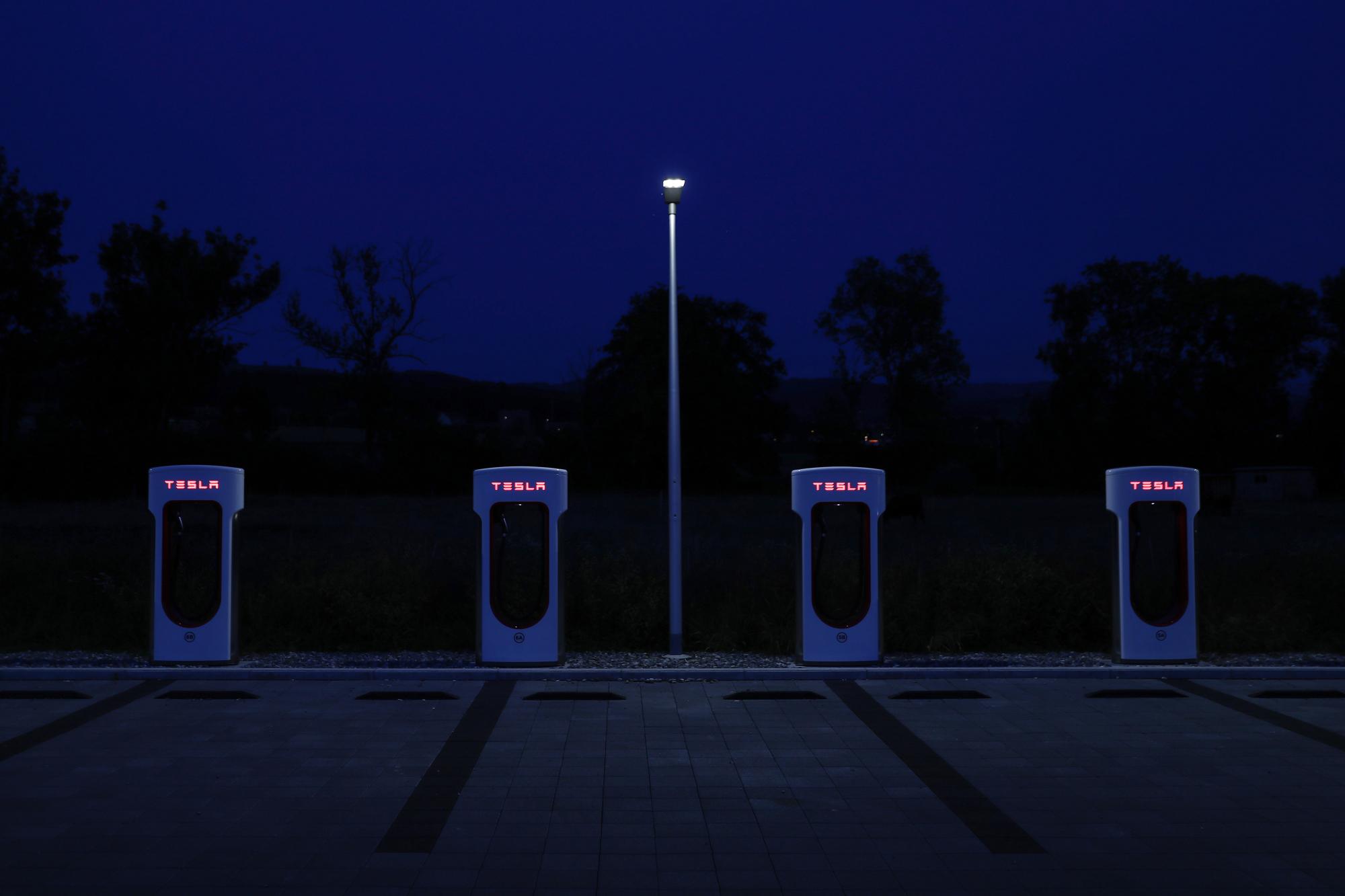 Tesla Inc. Supercharging Stations As Musk Mulls Privatisation Plans