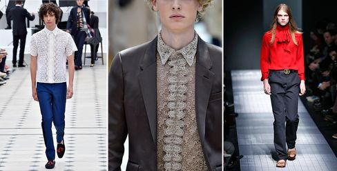Lace and ruffles were huge themes at menswear shows such as Burberry Prorsum spring/summer 2016 (left and far left) and Gucci fall 2015.