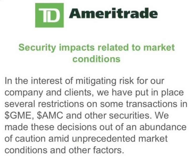 relates to TD Ameritrade Curbs GameStop Trades as Frenzy Snags Brokers