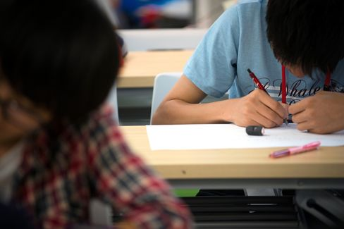 Students attend a free cram class in Tokyo.