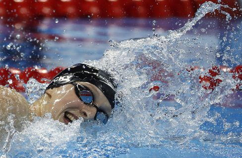 Katie Ledecky during the women's 800 meter freestyle final on Aug. 12, 2016.