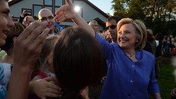 Democratic presidential candidate Hillary Clinton greets supporters following a grassroots organizing event at McIntyre Ski Area August 10, 2015 in Manchester, New Hampshire.
