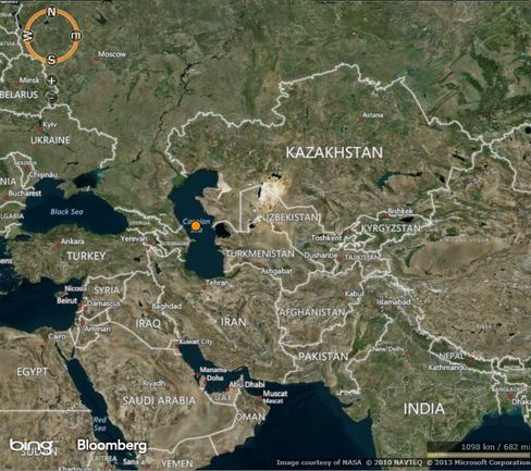 Shipping Corp. hopes for access to the Caspian Sea (orange dot) and Central Asian markets.